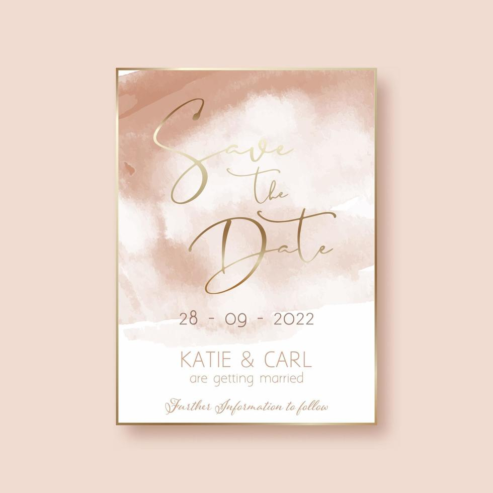 save the date invitation with watercolour design vector