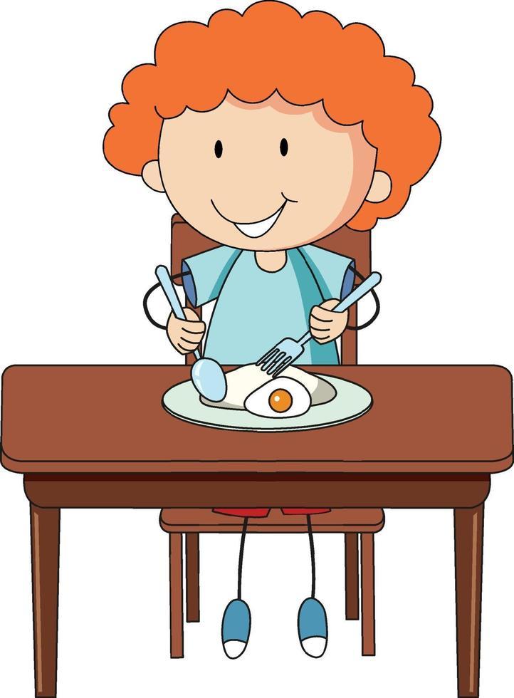 A boy having breakfast doodle cartoon character isolated vector