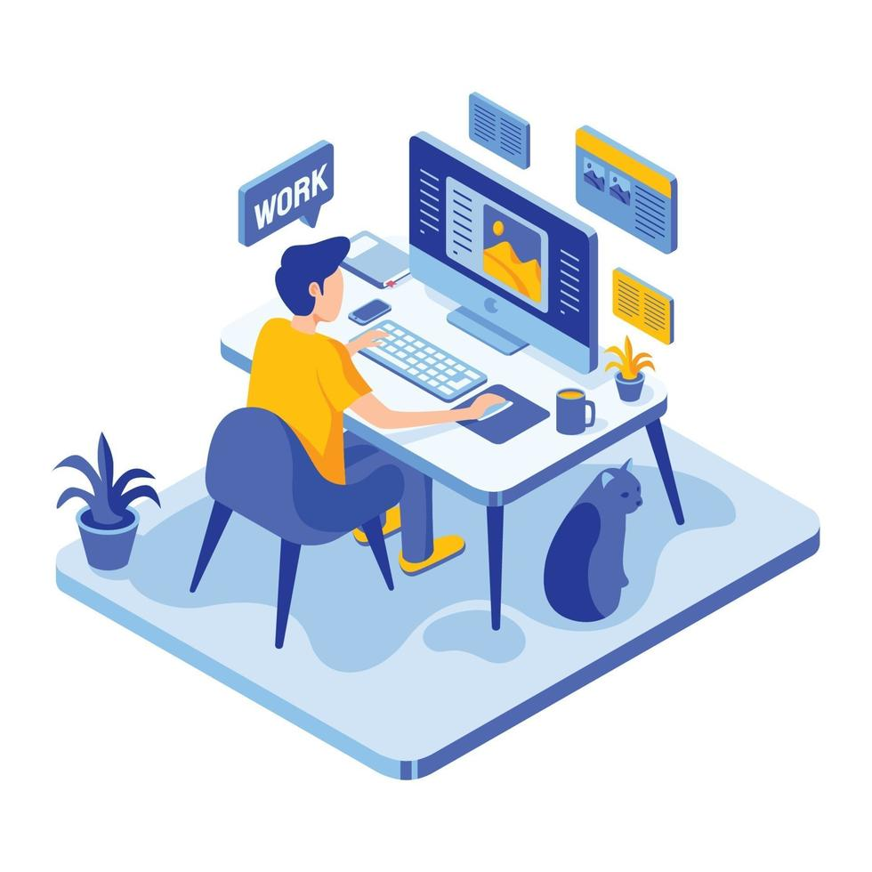 Man Working From Home in Isometric Style vector