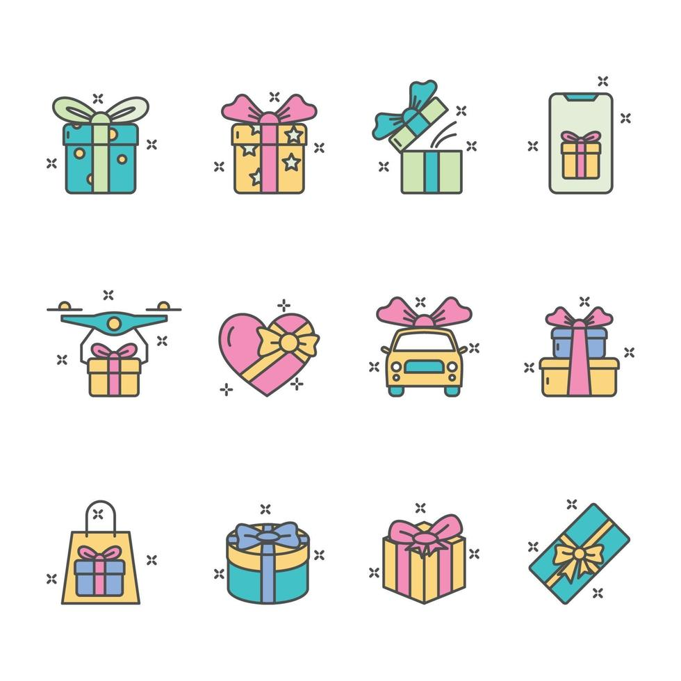 Colorful Gift Icon Collection vector