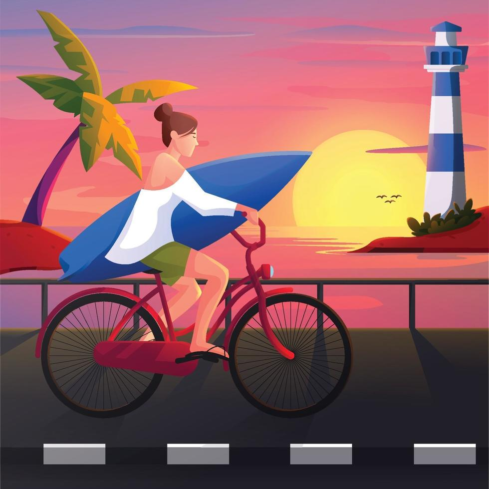 Girl Riding Bicycle on Beach vector