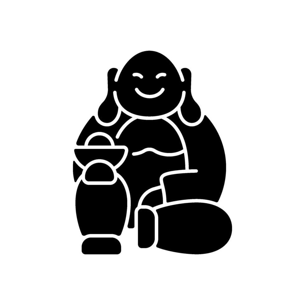 Laughing Buddha black glyph icon vector