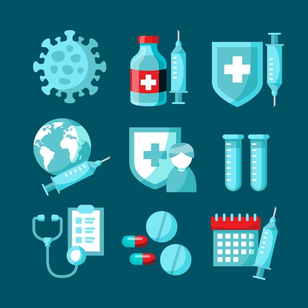 colección de iconos de vacuna en diseño plano vector