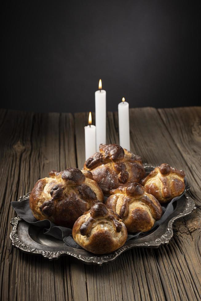 Traditional bread of dead arrangement photo