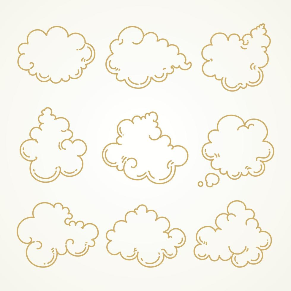 nube, conjunto, bosquejo, mano, dibujado vector