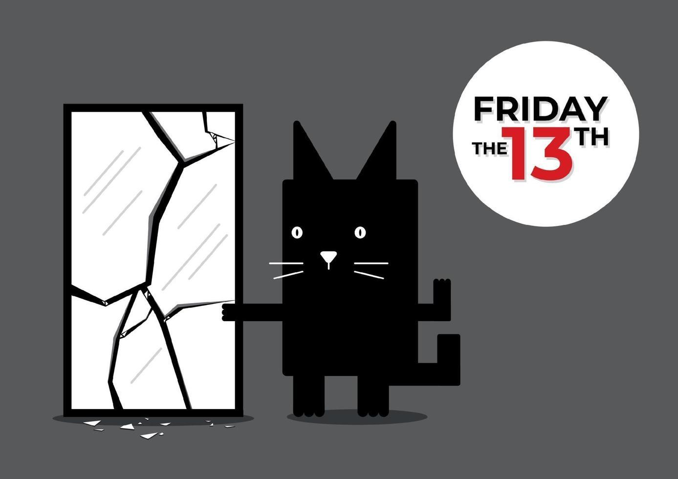 viernes 13 gato negro vector