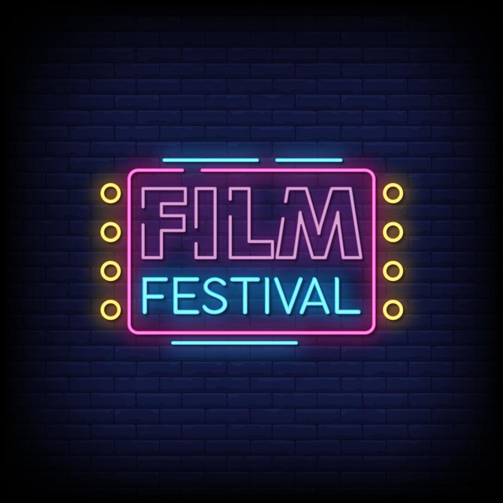 festival de cine letreros de neón estilo texto vector