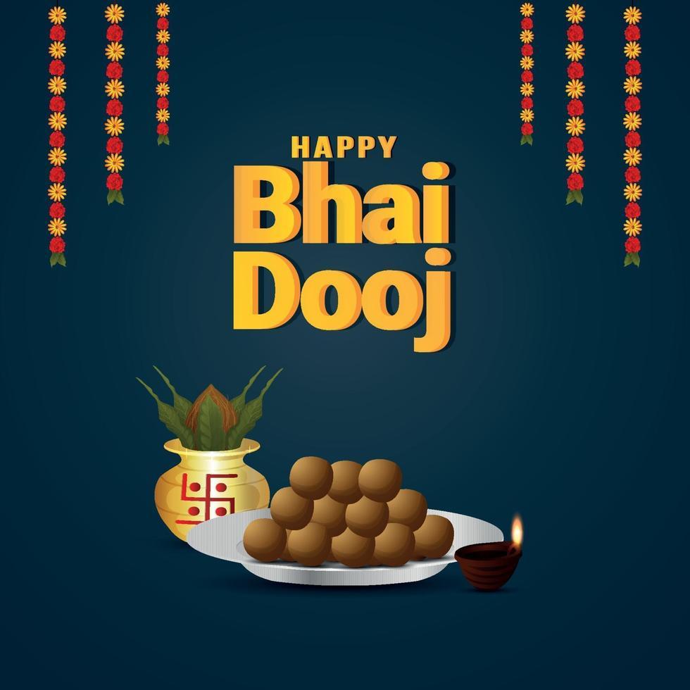 Tarjeta de felicitación de celebración de bhai dooj feliz con kalash dorado y plato dulce vector