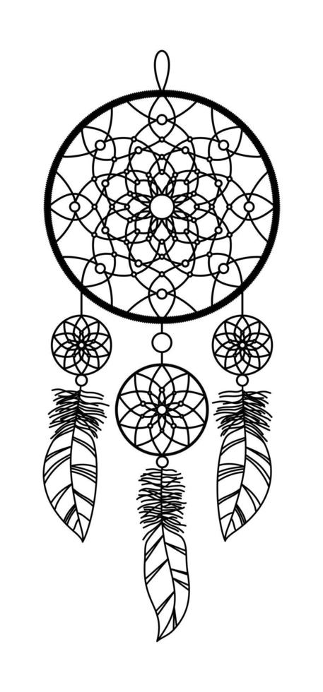 Imagen aislada de un atrapasueños sobre un fondo blanco. vector