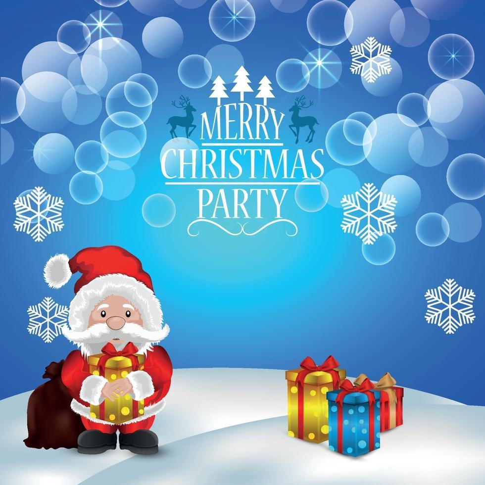 Fondo de fiesta de Navidad feliz con ilustración vectorial y regalos vector
