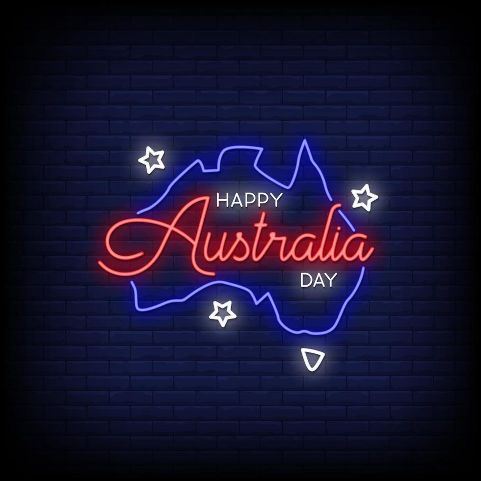 feliz día de australia letreros de neón estilo vector de texto
