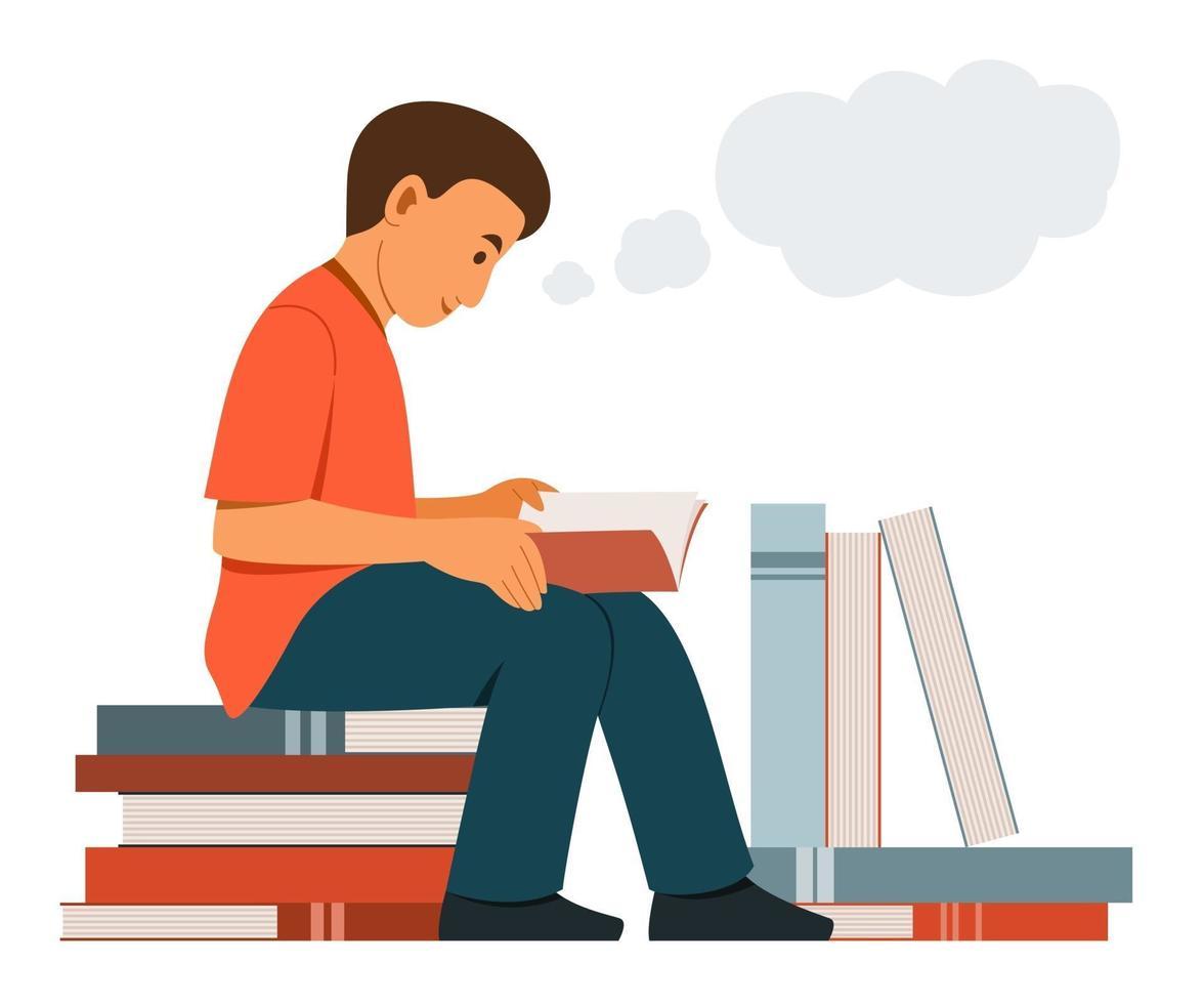 niño se sienta en la pila de libros grandes y lee un libro y piensa en una buena idea. vector