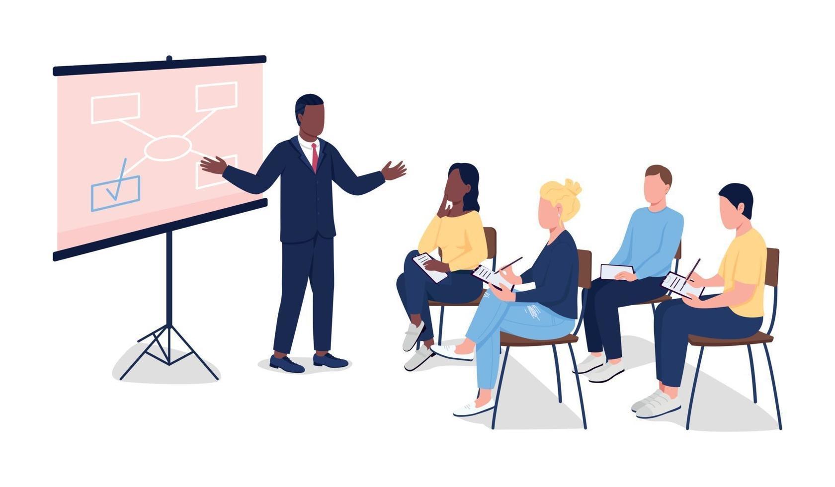 personas en seminario de negocios vector de color plano personajes sin rostro