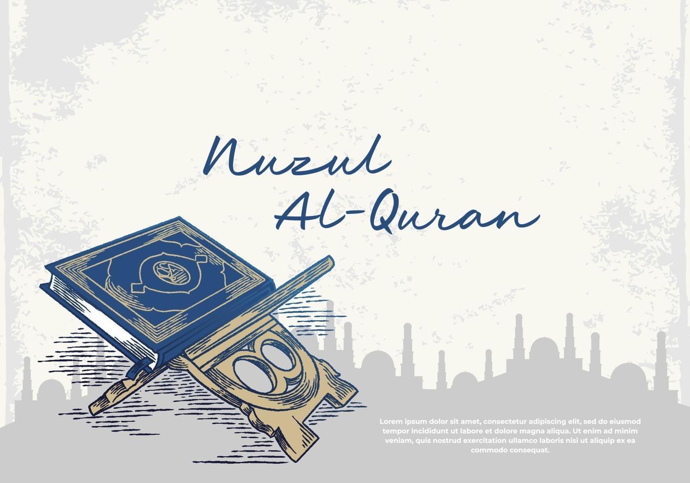 tarjeta de felicitación de ramadan kareem con corán azul vector