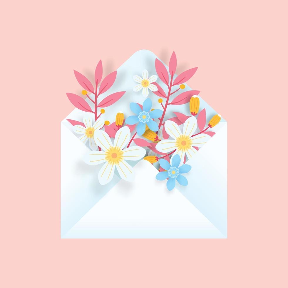 Sobre 3d con flores sobre fondo rosa. arte colorido del papel 3d de la primavera. diseño de pancarta, póster. vector