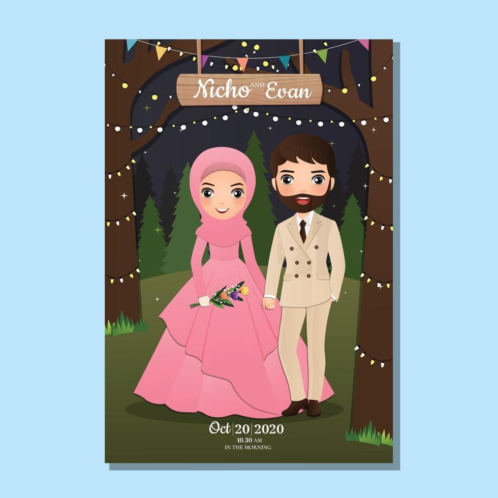 tarjeta de invitación de boda la novia y el novio linda pareja musulmana caricatura con paisaje hermoso fondo vector