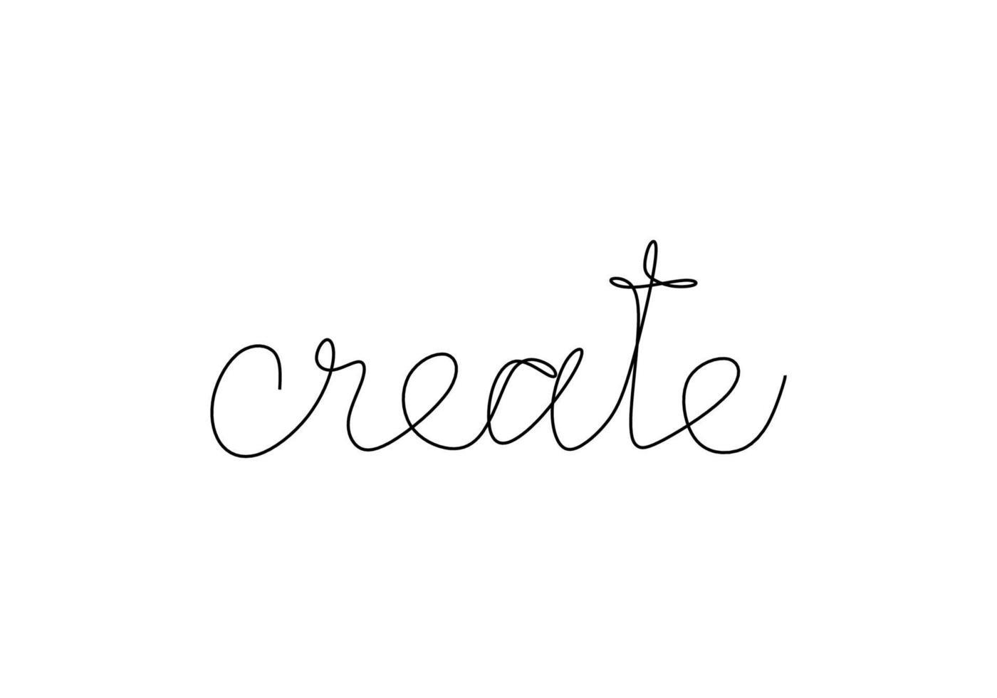 palabra de creación manuscrita de una línea. letras dibujadas a mano. caligrafía. dibujo de una línea de frase. el dibujo de línea negra continua crea la palabra. concepto de palabra minimalista. vector