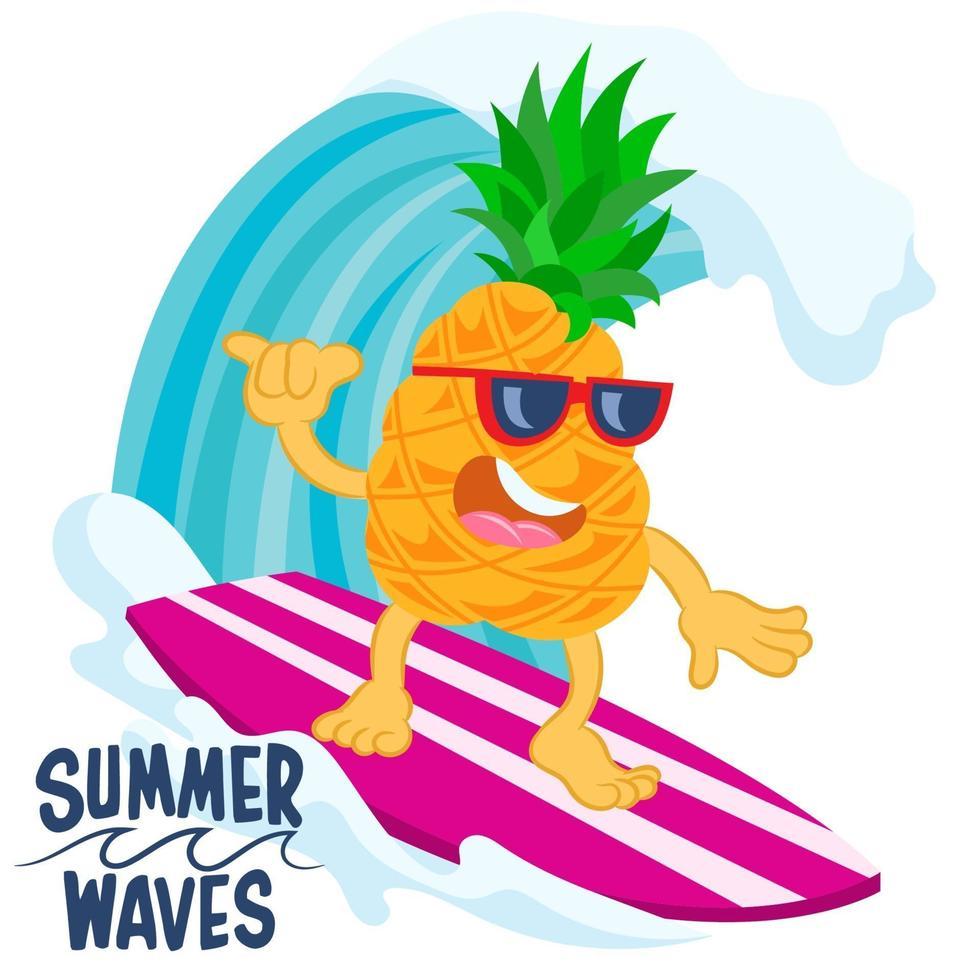 diseño de cartel de verano con piña vector