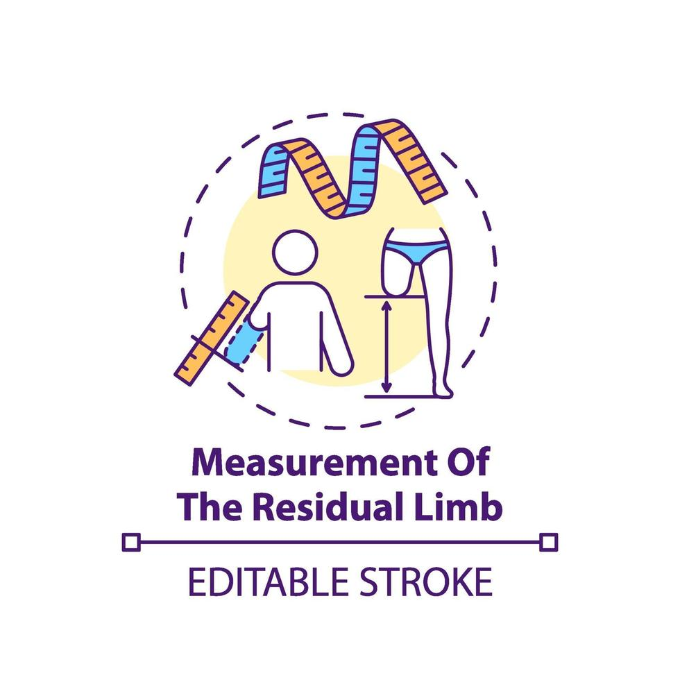 icono del concepto de medición de la extremidad residual vector