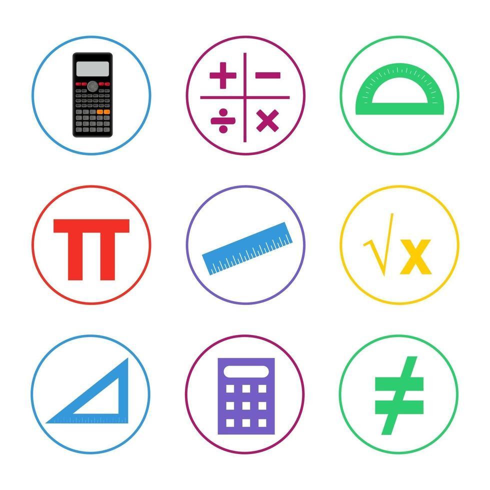 colorido conjunto de iconos de matemáticas vector