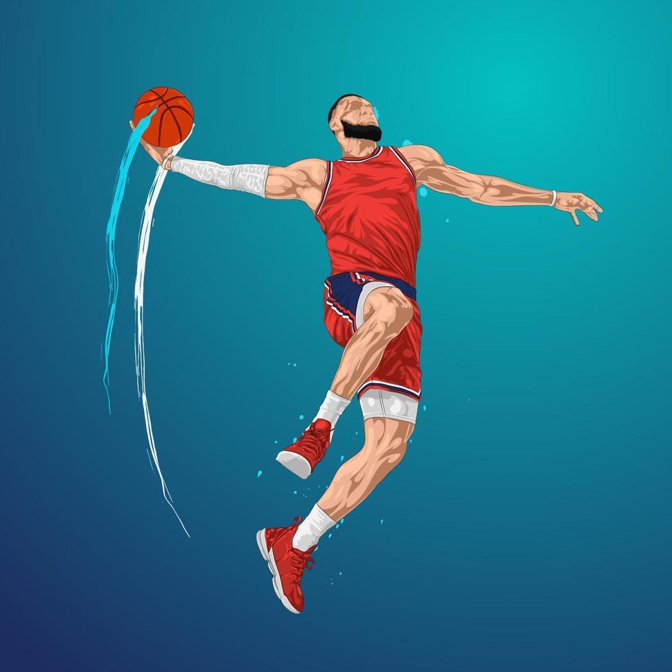 salto de baloncesto slam dunk vector