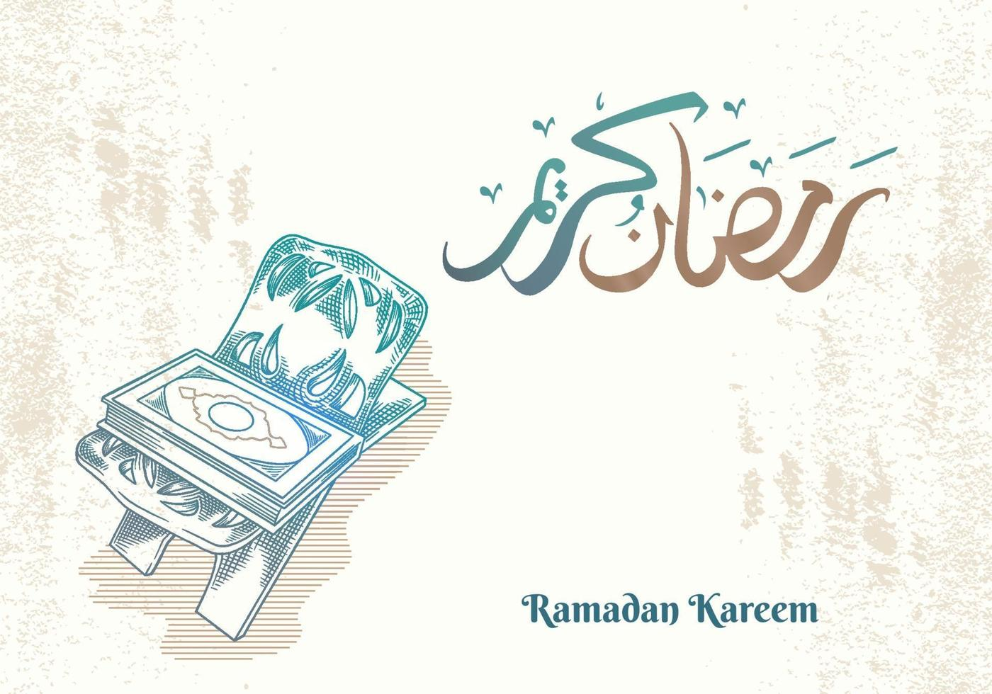 tarjeta de felicitación de ramadan kareem con corán verde vector