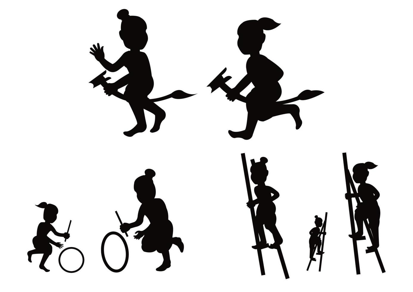 silueta, niños, juego, juego vector