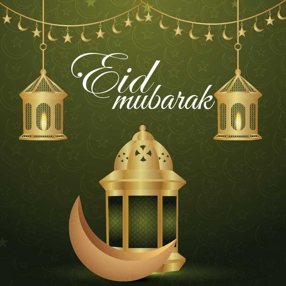eid mubarak celebración ilustración vectorial linterna dorada y luna vector