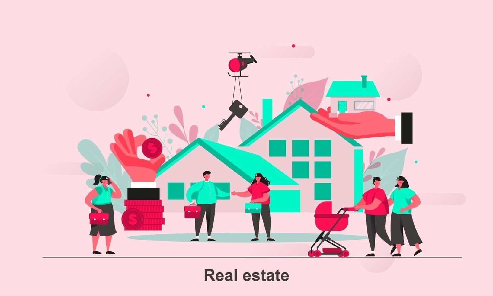 Real estate web concept design in flat style vector illustration