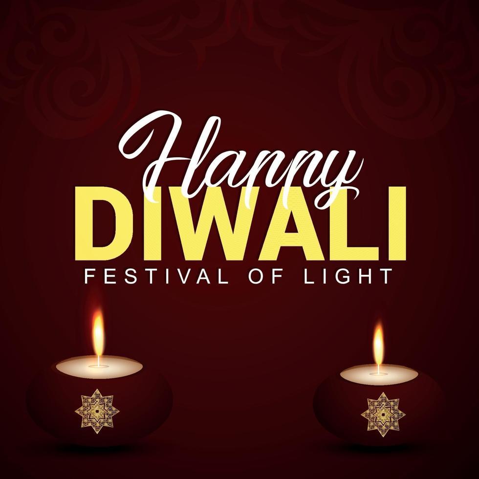 feliz festival indio de diwali el festival de la luz con diwali diya creativo vector