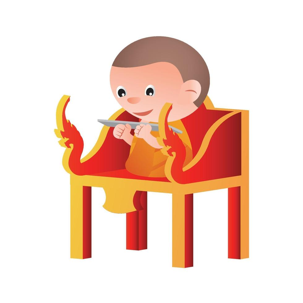 monk sits on a pulpit vector