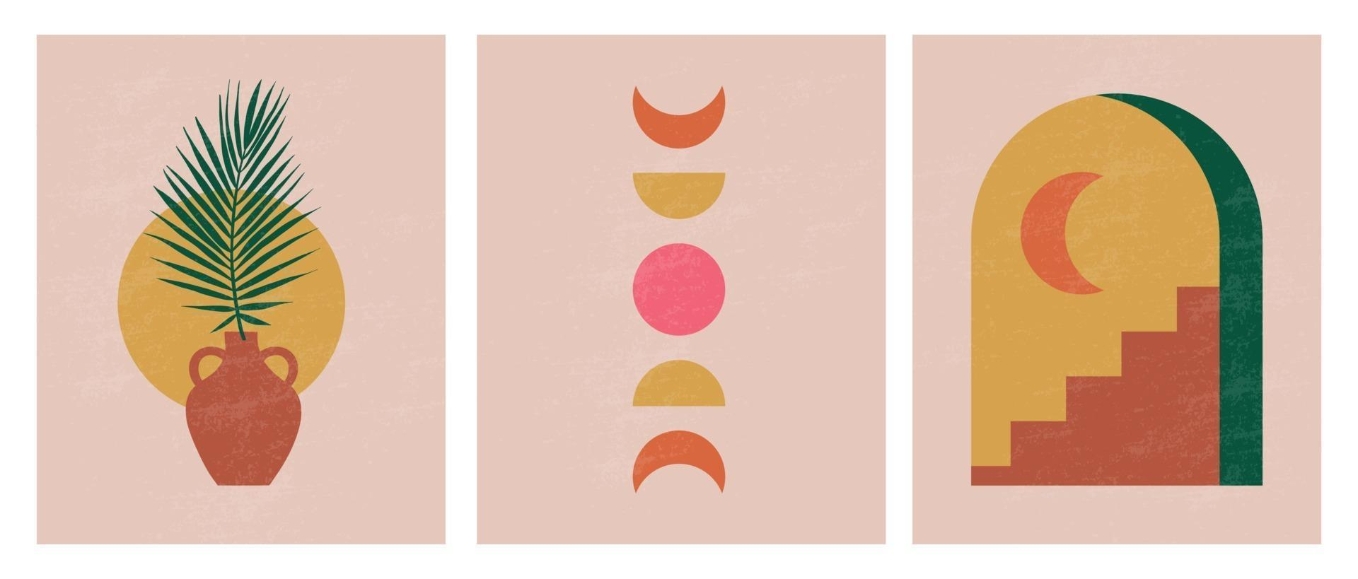 Modern minimalist abstract aesthetic illustrations. Bohemian style wall decor. Collection of contemporary artistic posters vector