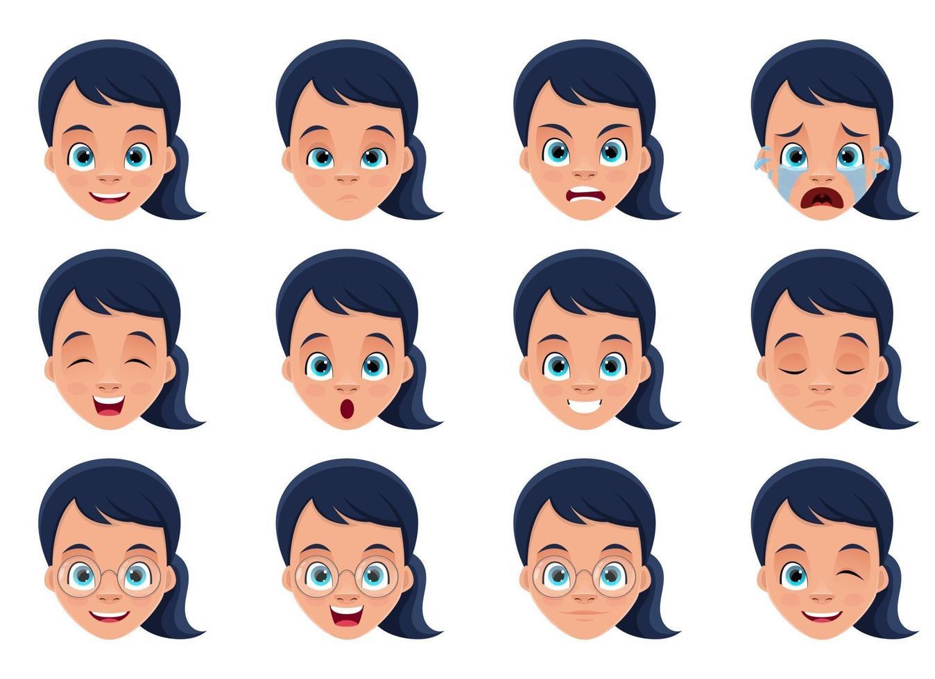 Ilustración de diseño de vector de expresiones de cara de niña aislada sobre fondo blanco