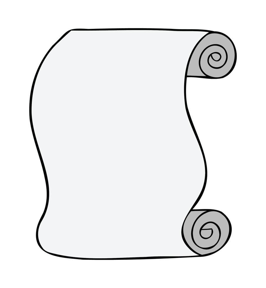 Cartoon vector illustration of paper scroll.