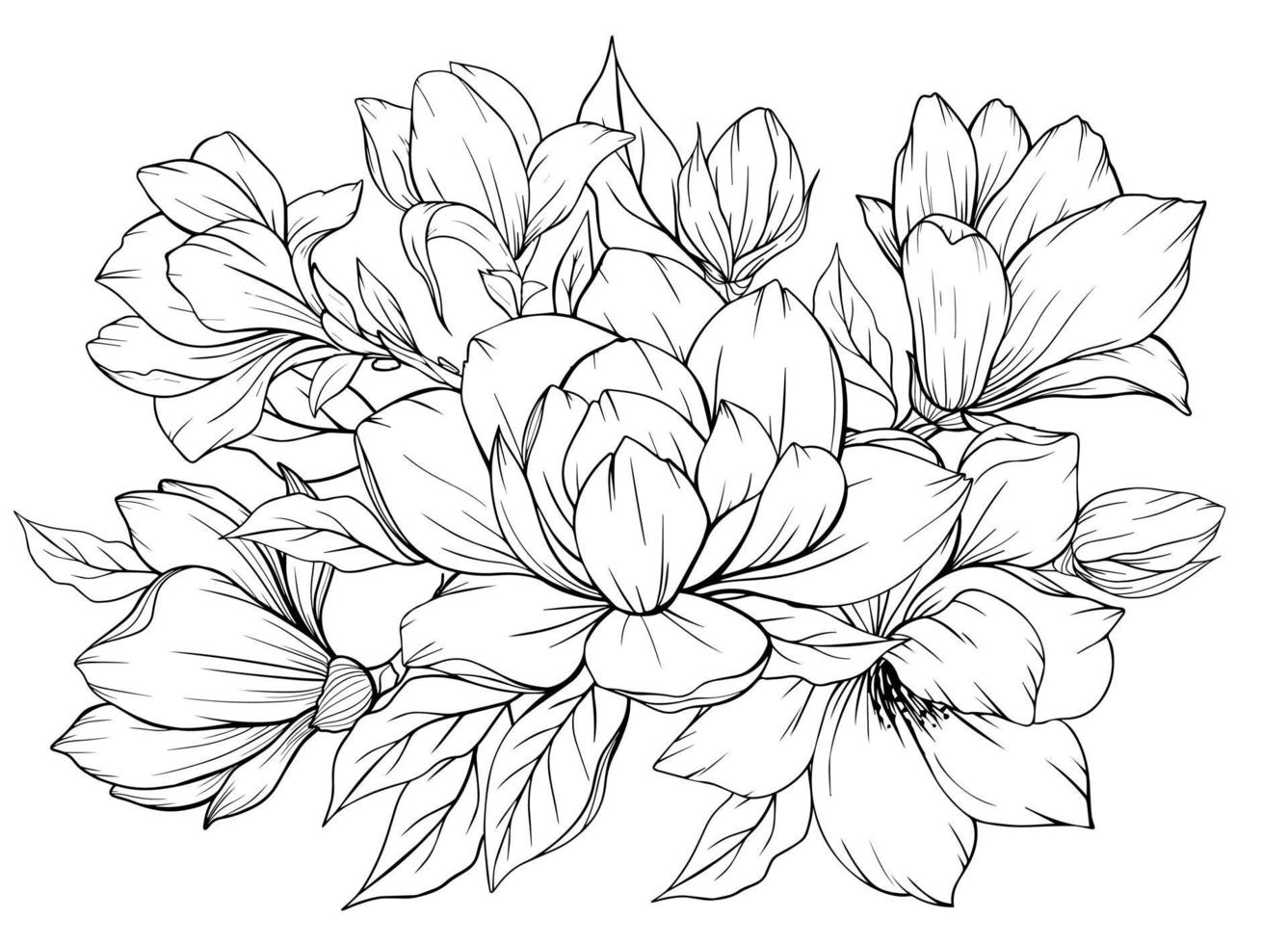 Coloring page with magnolia and leaves. Vector page for coloring. Flower Colouring page. Outline magnolia . Black and white page for coloring book. Anti-stress coloring. Line art flowers