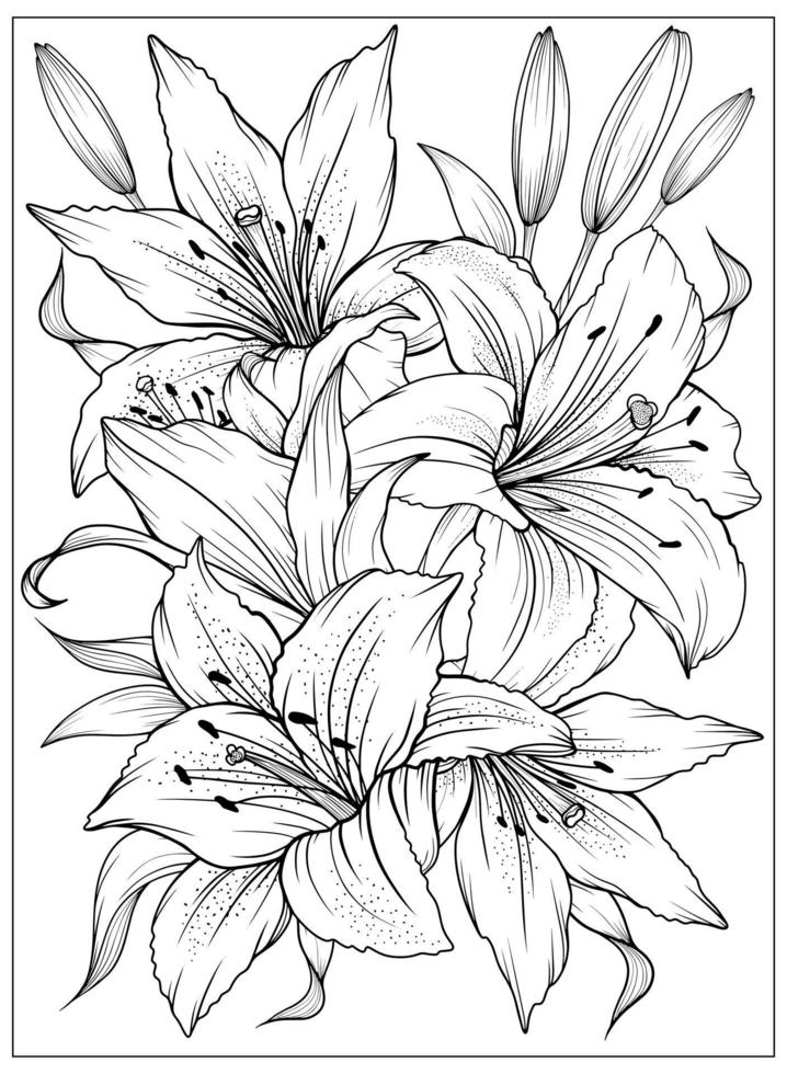 Coloring page with Lilies and leaves. Vector page for coloring. Flower Colouring page. Floral print. Outline Lily. Black and white page for coloring book.