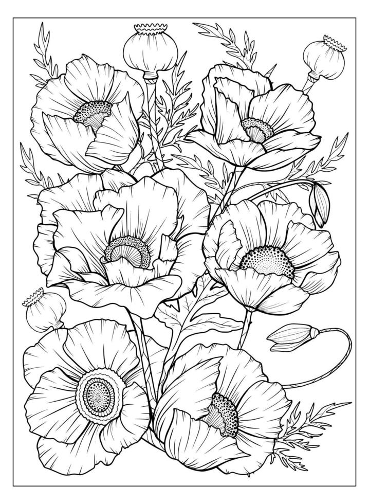Coloring page with poppies and leaves. Vector page for coloring. Flower Colouring page. Floral print. Outline poppies. Black and white page for coloring book. Anti-stress coloring. Line art flowers