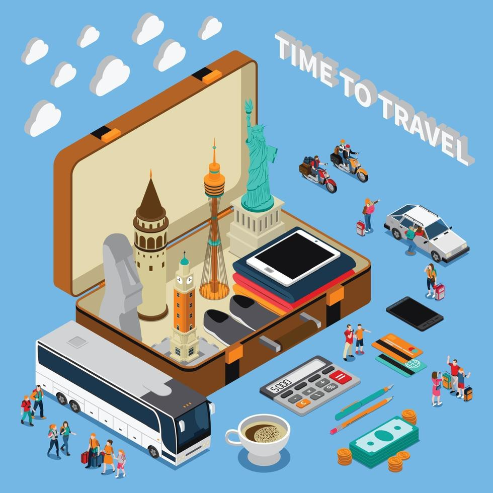 Travel Isometric Composition Vector Illustration
