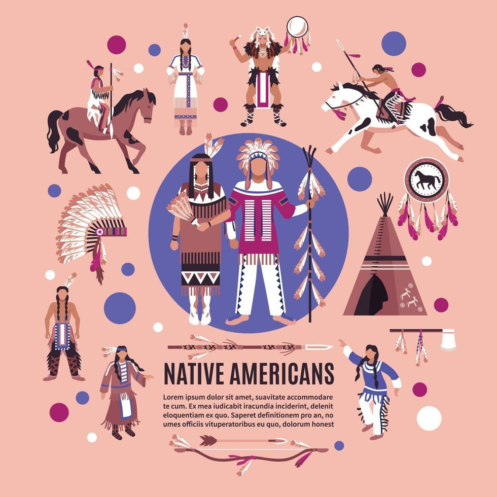 Native Americans Design Concept vector