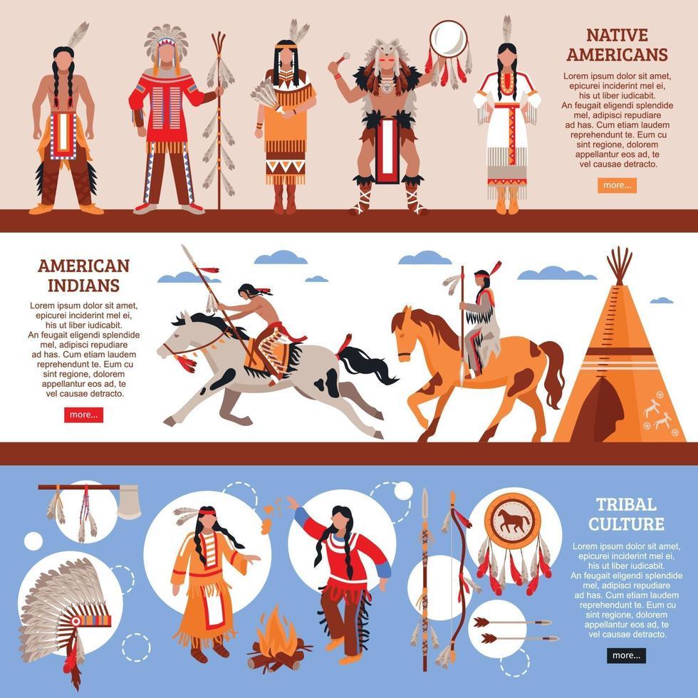 Native Americans Horizontal Banners Vector Illustration