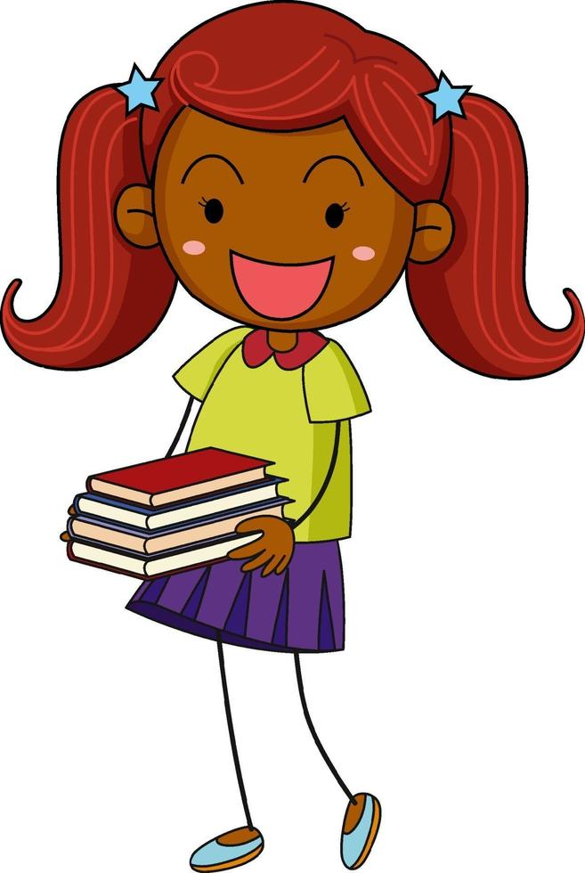 A doodle kid holding many books cartoon character isolated vector