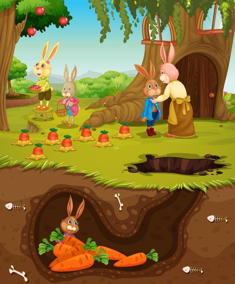 Underground rabbit hole with ground surface of the garden scene vector
