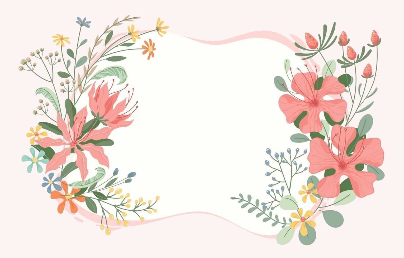 Beautiful Flower Frame Background vector
