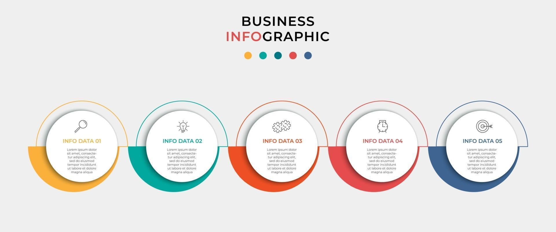 Vector Infographic design business template with icons and 5 options or steps. Can be used for process diagram, presentations, workflow layout, banner, flow chart, info graph