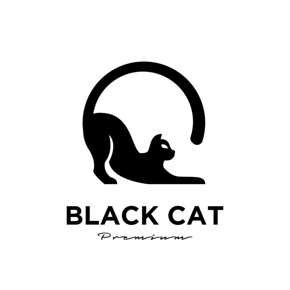 Black cat simple logo design vector