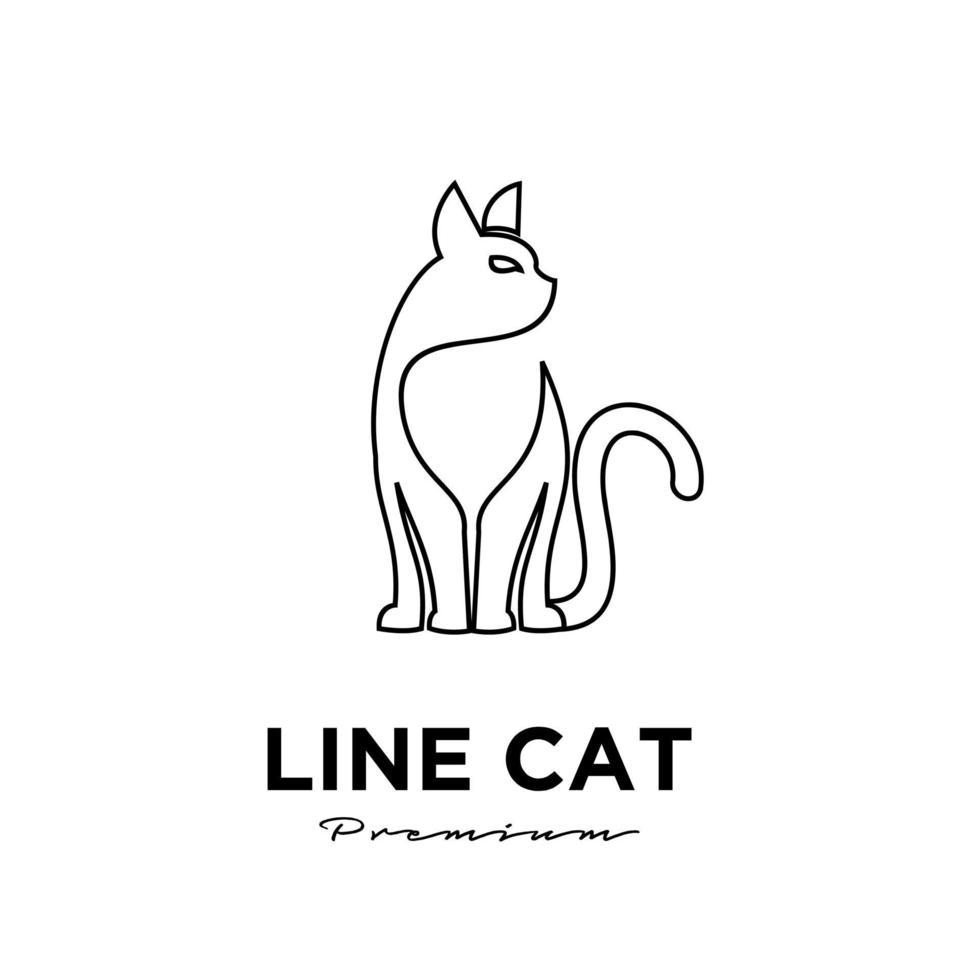 Black cat line simple logo vector