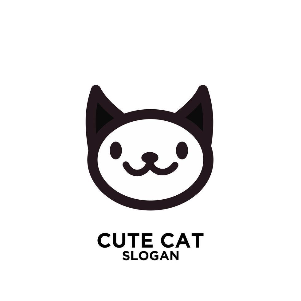 simple minimalism cute cat vector icon logo design