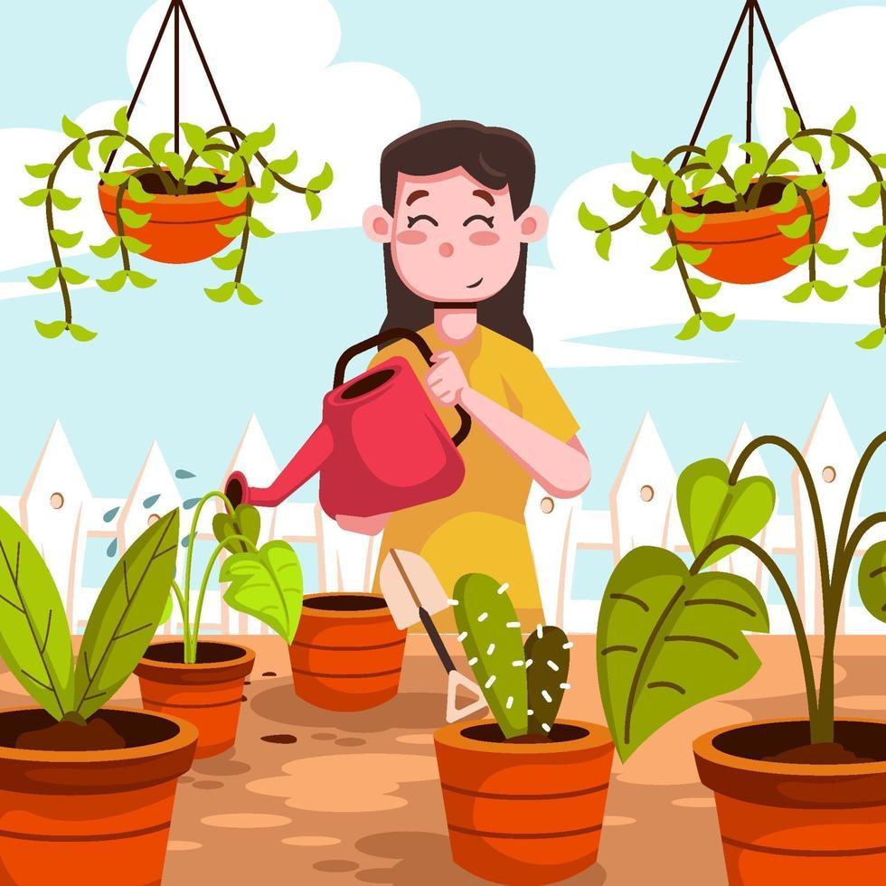 Happy Girl Watering Plants vector