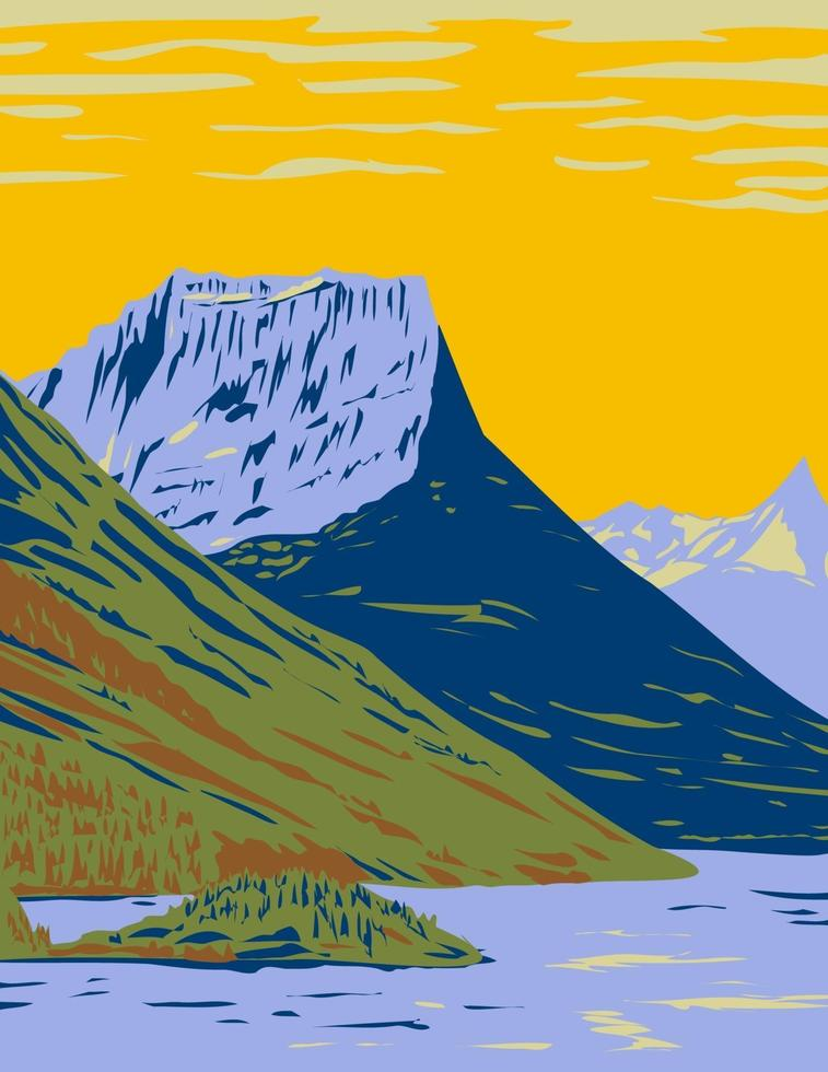 Waterton-Glacier International Peace Park the Union of Waterton Lakes National Park in Canada and Glacier National Park in the United States WPA Poster Art vector