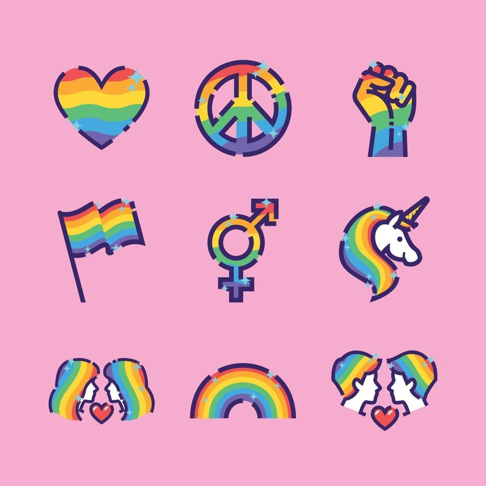 LGBTQ Pride Icon Collection vector
